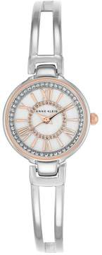 Anne Klein Crystal-Accented Silvertone Pavé Dial Bangle Bracelet Watch