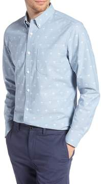 1901 Trim Fit Print Chambray Sport Shirt