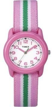 Timex Girls Time Machines Pink/Green Stripe Watch, Elastic Fabric Strap