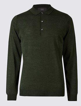 Marks and Spencer Merino Wool Blend Polo Shirt
