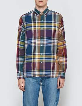 Beams Wide Check Long Sleeve Shirt