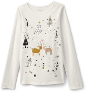 Lands' End Lands'end Little Girls Holiday Graphic Tee