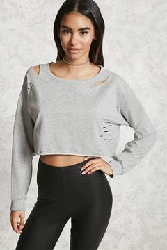 Forever 21 Distressed Cropped Sweatshirt