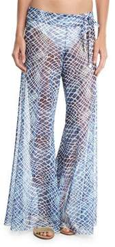 Letarte Printed Flared Sheer Mesh Pants