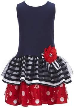 Bonnie Jean Little Girls 2T-6X Drop waist Dots and Stripes Dress