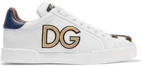 Dolce & Gabbana Appliquéd Leather Sneakers - White