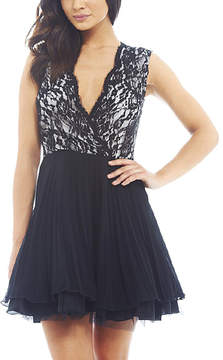 AX Paris Black & White Lace-Surplice Pleated Skater Dress - Women