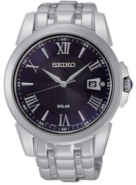 Seiko Men's Stainless Steel Solar Blue Dial Watch, 41.5mm