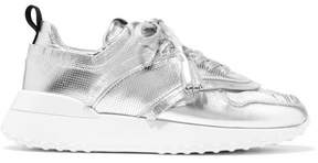 Tod's Logo-print Fringed Perforated Metallic Leather Sneakers - Silver