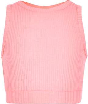 River Island Girls pink ribbed crop top
