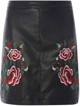 Dorothy Perkins Black Faux Leather Floral Embroidered Skirt