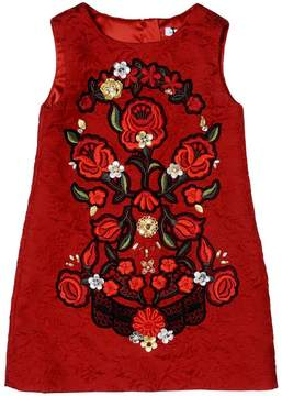Dolce & Gabbana Embellished Cotton Brocade Dress