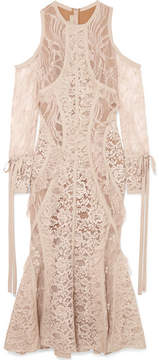 Elie Saab Cold-shoulder Georgette-trimmed Corded Lace Midi Dress - Blush