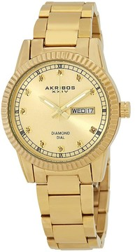 Akribos XXIV Gold Tone Dial Ladies Gold Tone Watch