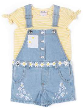 Little Lass Little Girls' 4-6X Striped T-Shirt and Embroidered Denim Shortall 2-Piece Set