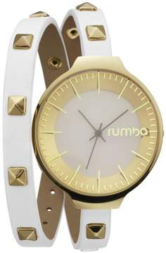 RumbaTime Orchard Studded White Double Wrap Strap Watch