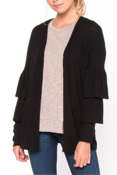 Everly Black Ruffle Cardigan