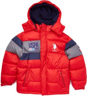 U.S. Polo Assn. Winning Red Hooded Puffer Coat - Toddler & Boys