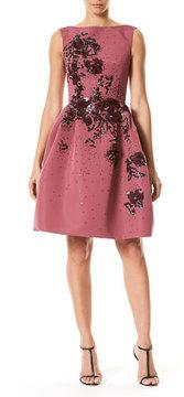 Carolina Herrera Sleeveless Floral-Embellished Party Dress, Wine