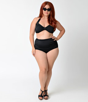 Esther Williams Plus Size Solid Black High Waist Ruched Swim Bottom