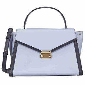 Michael Kors Whitney Large Leather Satchel- Pale Blue/Admiral - PALE BLUE/ADMIRAL - STYLE