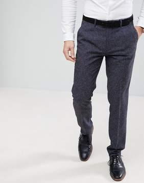 Farah Smart Skinny Wedding Suit Pants In Navy Fleck