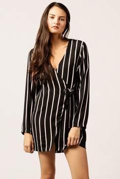 Azalea Striped Buckle Wrap Dress