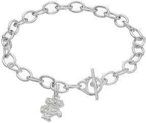 Dayna U Sterling Silver Wisconsin Badgers Charm Toggle Bracelet
