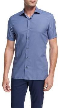 Ermenegildo Zegna Record-Print Short-Sleeve Cotton Shirt, Dark Blue
