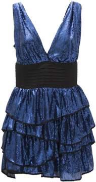 Christian Pellizzari Blue Sequin Ruffled Dress With Black Waistband.