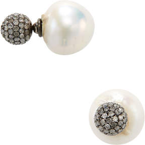 Artisan Women's Pearl & Diamond Ball Earrings
