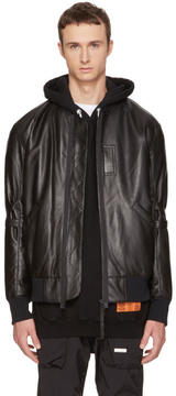Helmut Lang Black Leather Bomber Jacket