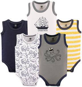 Hudson Baby Navy & Gray 'Captain Of The Sea' Bodysuit - Newborn & Infant