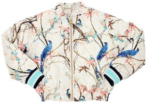 No Added Sugar Birds Printed Bomber Jacket W/ Lurex