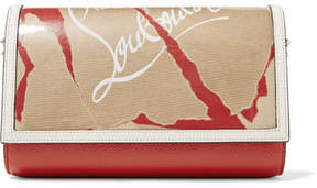 Christian Louboutin Paloma Kraft Spiked Printed Textured-leather And Pvc Clutch