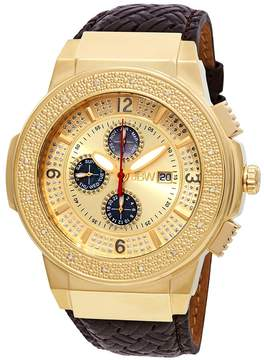JBW Saxon Gold-tone Sunray Crystal Dial Gold-tone Stainless Steel Diamond Bezel Brown Leather Strap Men's Watch