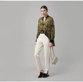 Amanda Wakeley   Paisley Printed Crepe De Chine Shirt   L   Green