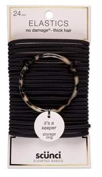 Scunci Thick Hair Elastics with Bonus Ring Holder - 24pk