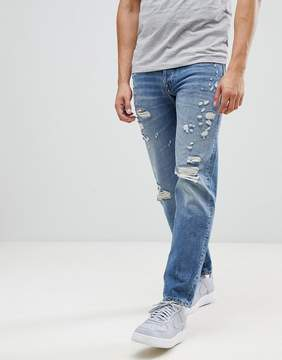 Jack and Jones Intelligence Tapered Fit Jeans with Distress Detail