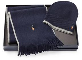 Ralph Lauren Merino Hat & Scarf Gift Set Hntr Nvy/Fwn Gry Hthr One Size