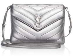 Saint Laurent Lou Metallic Leather Shoulder Bag - SILVER - STYLE