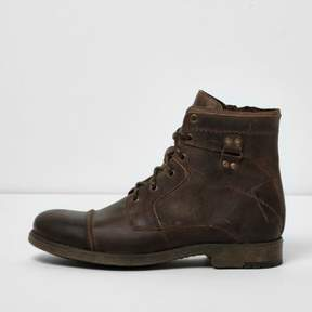 River Island Mens Brown leather military boots