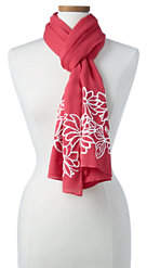 Lands' End Women's Embroidered Floral Scarf-Rose Petal Floral