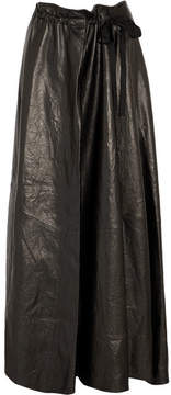 Ann Demeulemeester Gathered Leather Maxi Skirt - Black