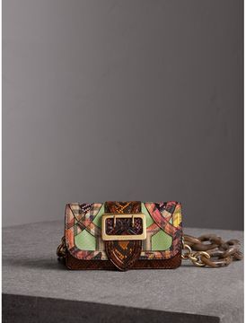 Burberry The Small Buckle Bag in Snakeskin and Floral Print - PALE GREEN - STYLE