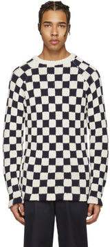 Acne Studios Off-White and Navy Korus Check Sweater