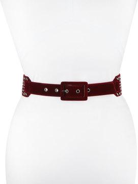 Neiman Marcus Studded Velvet Belt