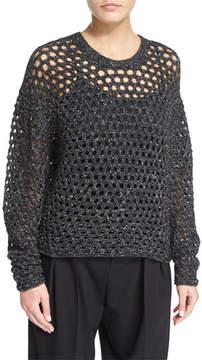 IRO Montero Netted Pullover Sweater, Black
