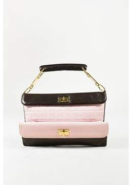 Chanel Pre-owned Pink & Brown Quilted Lambskin Leather Gold Tone 'cc' Bag.