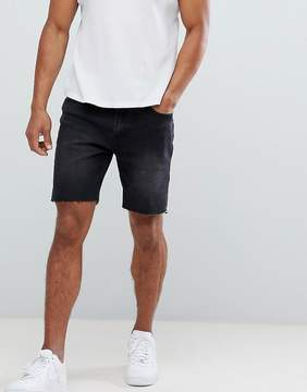 Pull&Bear Slim Fit Denim Shorts In Black